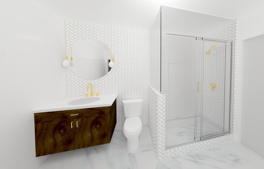 mainbath design render mid-century-condo re-design | Creative Touch Kelowna Interior Design