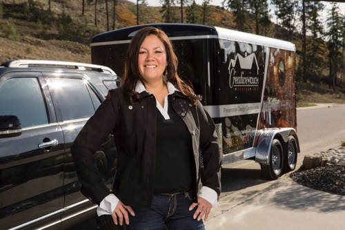 Interior Design Kelowna - Interior designer Paulette Facca beside the Creative Touch trailer