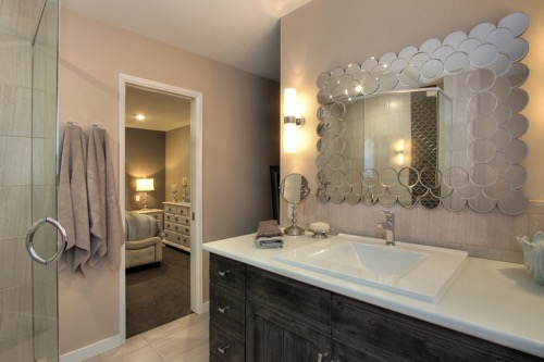 Interior Design Kelowna - Creative Touch - Ensuite bathroom distressed wood treatment on vanity