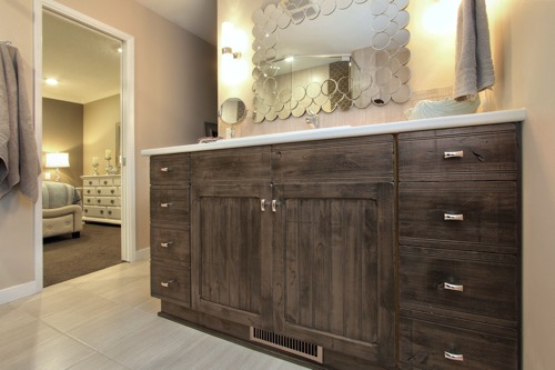 Interior Design Kelowna - Creative Touch - Ensuite bathroom distressed wood treatment on vanity