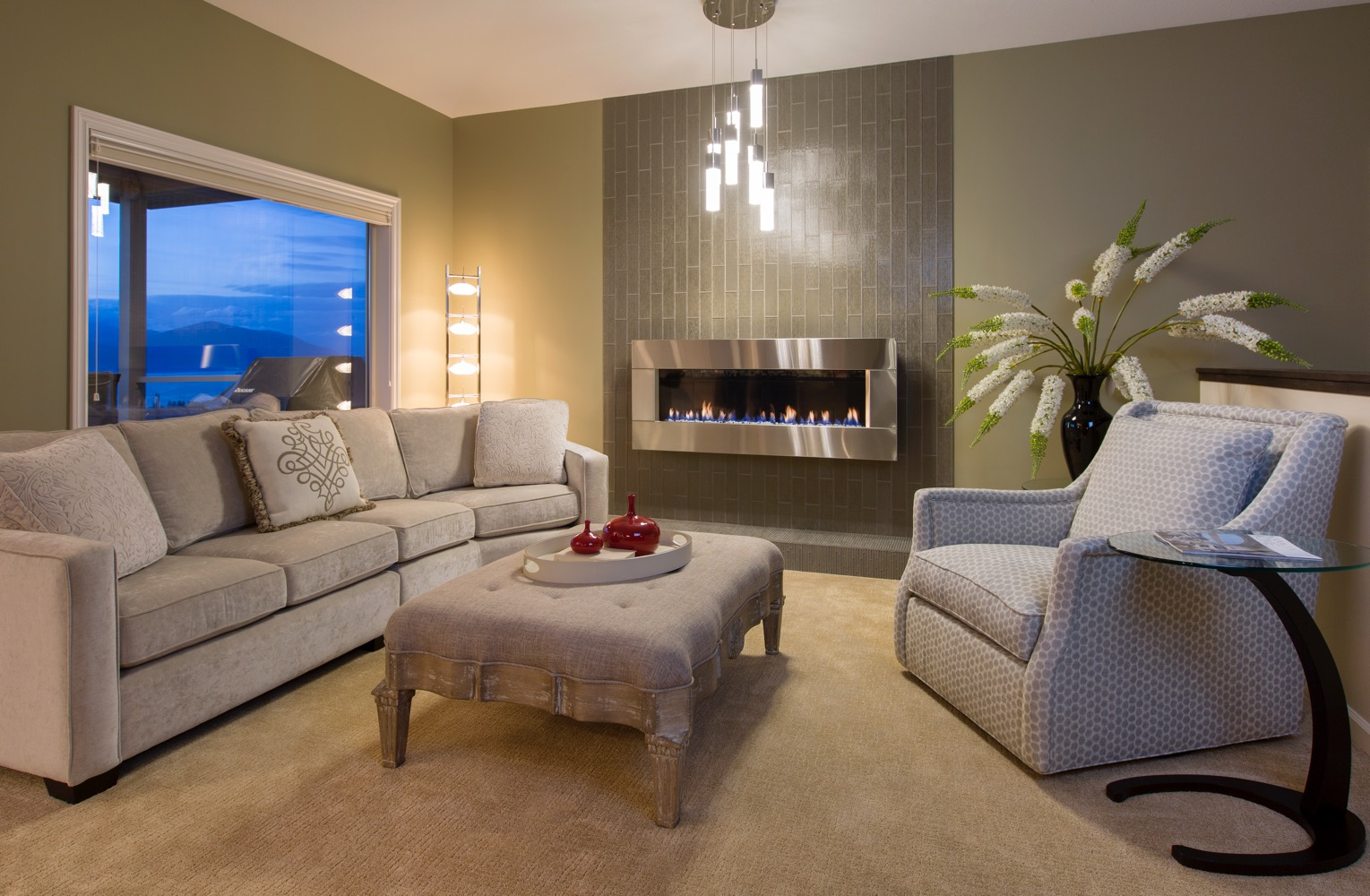 Interior Design Kelowna - Elegant living room with fireplace