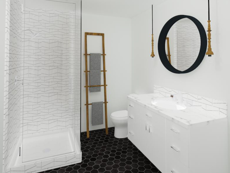 Interior Design Kelowna - Creative Touch Interiors - 3D Render of custom bathroom design