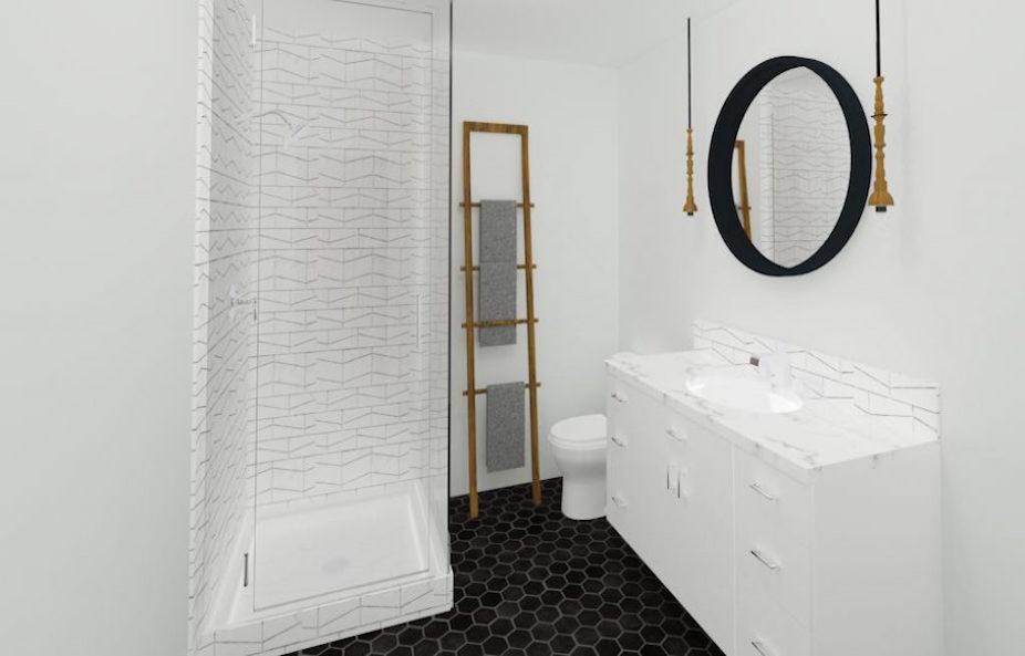 Upstairs-bath-design-render-mid-century-condo-re-design | Creative Touch Kelowna Interior Design