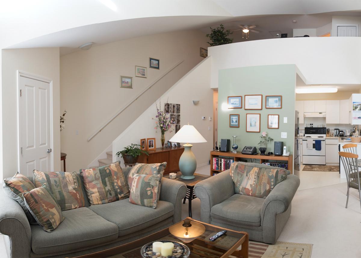 Mid-century condo - living room before | Creative Touch Kelowna Interior Design