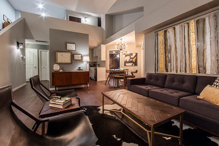 Mid-century condo - living room after | Creative Touch Kelowna Interior Design
